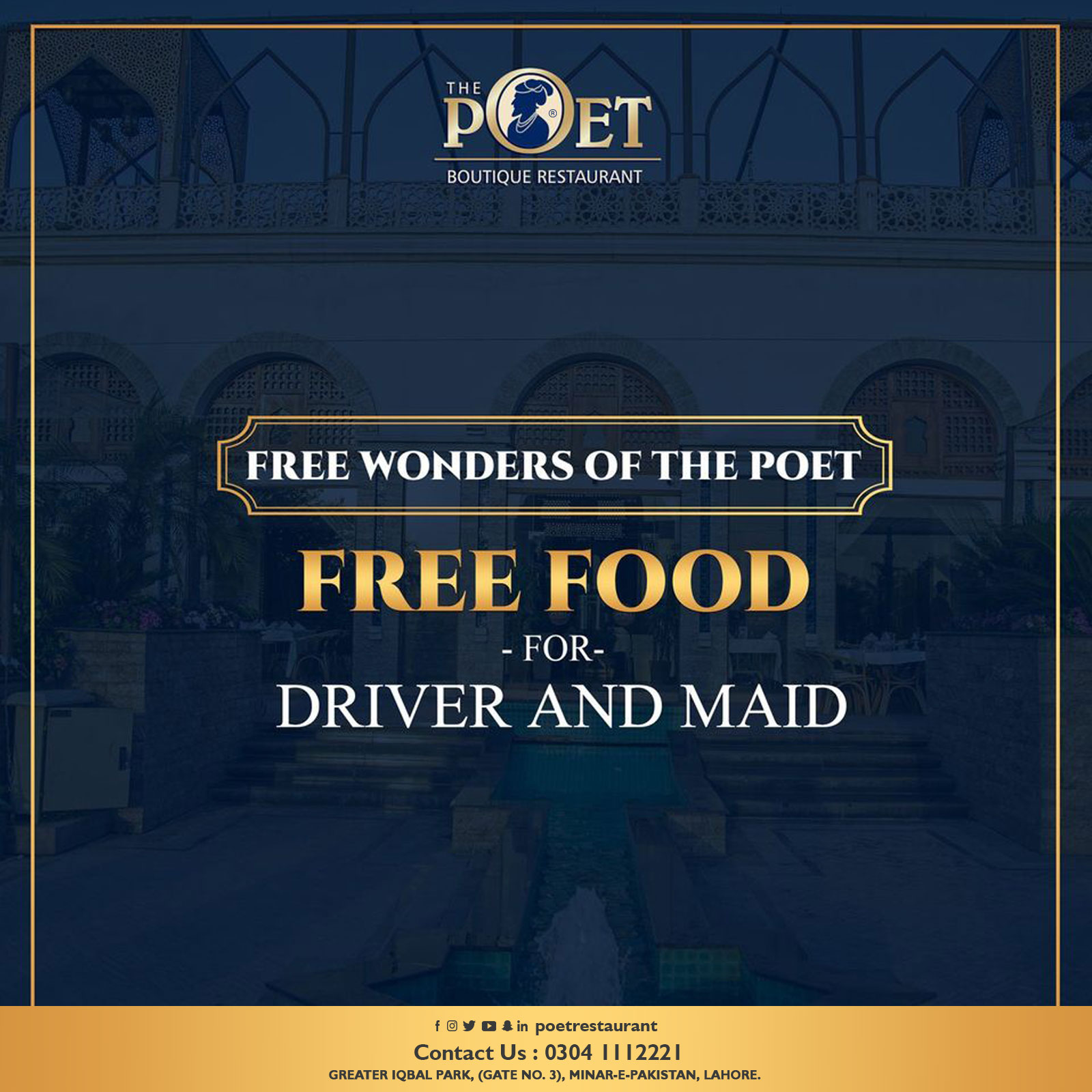 Free Food for Driver and Maid at The Poet Restaurant