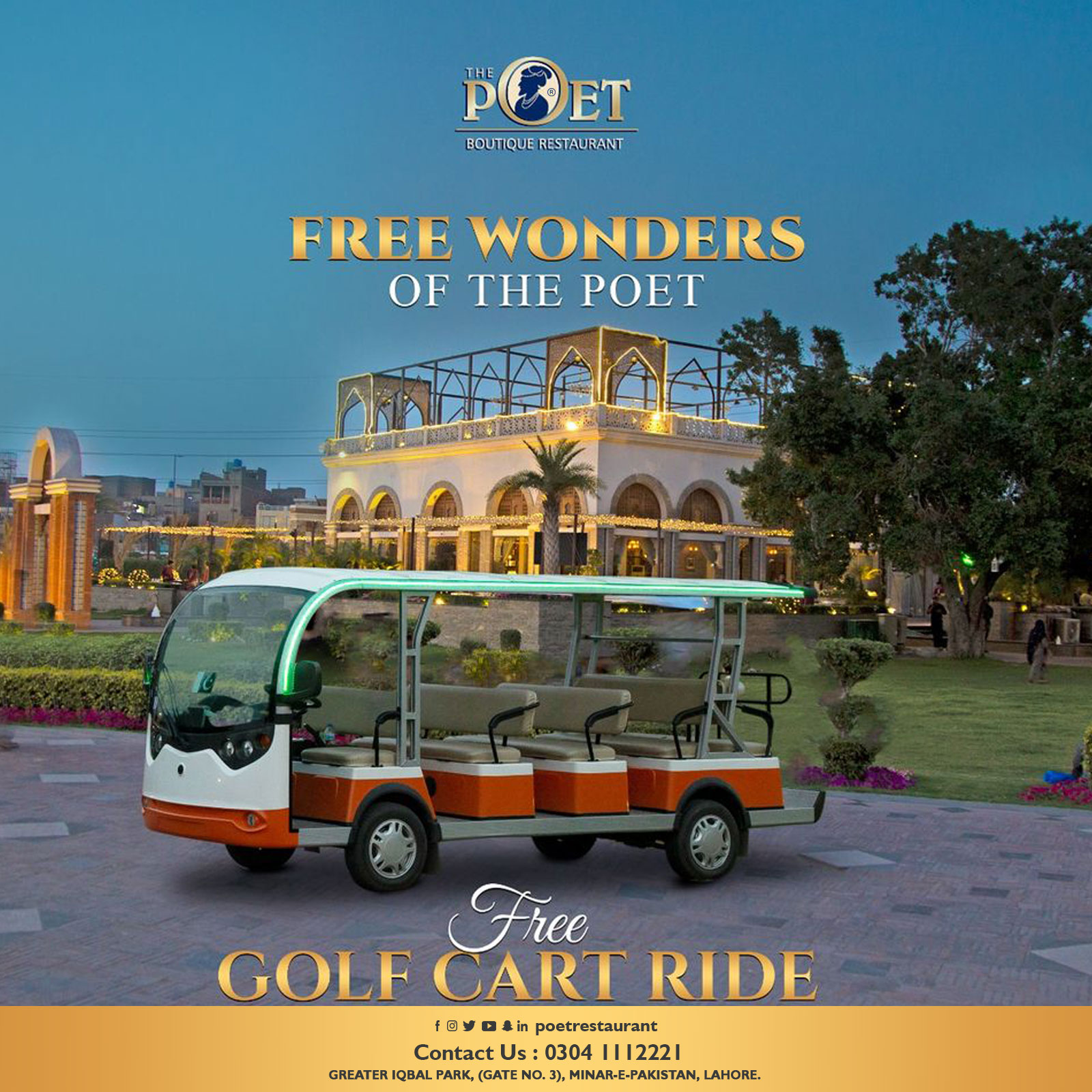 Free Golf Cart Ride at The Poet Restaurant